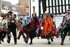 Morris Dancers. Evesham, The Cotswolds. Festivals
