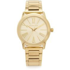 Michael Kors Hartman Watch found on Polyvore featuring jewelry, watches, accessories, braceletes, gold, yellow gold watches, snap button jewelry, michael kors, gold tone watches and gold tone jewelry