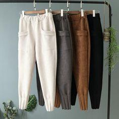 """New women autumn winter capris pants boots pants Pockets Harem trousers Casual nice ladies trouser black good materials Harem Trousers, Trousers Women, Pants For Women, Suede Pants, Knit Pants, Loose Pants, Fashion Pants, Fashion Outfits, Fashion Fashion"