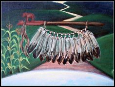 I painted 12 cornstalks in correlation to The 12 feathers on the pipe to represent The 12 TRIBES of israel/Abraham. The sprouting corn represents the descendants/offspring. I have heard that this is what the Authentic pipe looks like. Clay with a small buffalo calf on the bowl for the masculinepart and the long wooden pipe for the feminine part. She brought this to the tribe she visited to teach them balance of their two sides and how to pray to the 7 directions. by Sophia Rose