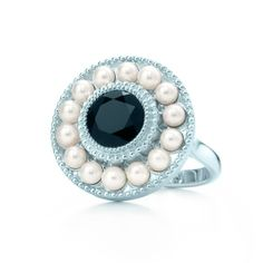 """Ziegfeld Collection ring in sterling silver with a round black onyx and freshwater cultured pearls. Inspired by the Tiffany jewels created exclusively for Baz Luhrmann's """"The Great Gatsby."""" © 2013 Warner Bros. Ent. #TiffanyPinterest"""