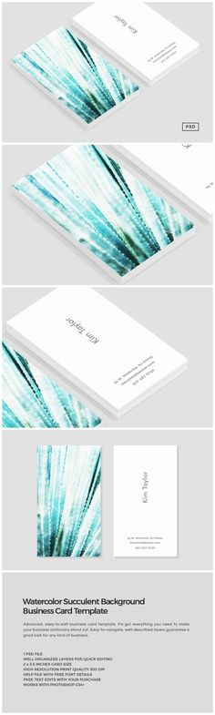 Watercolor Succulent Business Card by Design Co. on @creativemarket