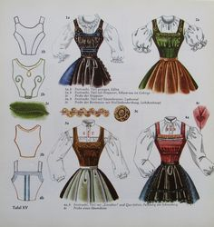 Folk Fashion, Fashion Art, Couture Sewing Techniques, 18th Century Dress, Structured Dress, German Fashion, Pattern Drafting, Folk Costume, Cat Design