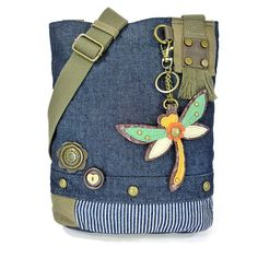 Chala Patch Cross-Body Women Handbag, Canvas Messenger Bag - Denim DragnonFly