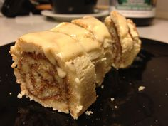 Protein cinnamon roll with drizzled almond butter