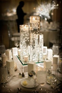 White wedding reception decorations.
