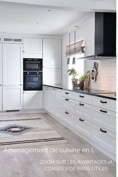 Aménagement de cuisine en L moderne et fonctionnelle pour profiter d'une ambiance conviviale