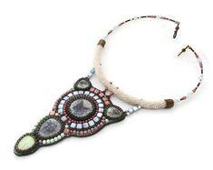 Bead embroidery necklace - boho pendant necklace - multicolored beadwork necklace - embroidered pendant necklace - Color Universe