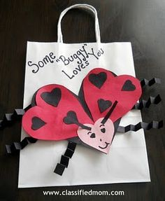 """Kids Craft- Valentine's Day """"Some-buggy Loves You"""" Gift Bag - thinking of making this as a card for Grammy (my toddler and her share a love of ladybugs)"""