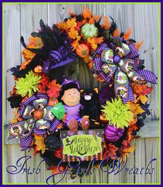 Peanuts Witch Lucy With Black Merlin Cat Halloween Wreath, Large Fall Wreath, Purple Witch Hat, Monster