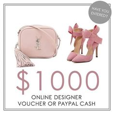 👛💰Have you entered for your chance to WIN a $1000 Net-a-Porter Gift Card to spoil yourself with a Luxury designer brand shopping spree of your choice -OR- $1000 in PayPal cash?  What will you choose?  See our original post for details on how to enter! Good Luck 🍀 . . . #LouisVuitton #yvesSaintLauren #Gucci #shoppingspree #luxurybrands  #designer #shoppingspree #beautyblogger #fashionblogger #chloe #sunglasses #handbag #fashion