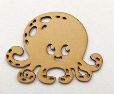Wooden Kids Fun Squid MDF craft design shape plane, embellishment, wood design #Unbranded