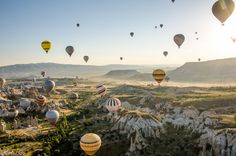 I want to ride a hot air balloon in Turkey. The Cappadocia region is considered to be one of the most beautiful in the country. The region known as Cappadocia or Kapadokya in the native Turkish, is situated in Central Anatolia and is known the world around for its moon-like landscape and its mysterious underground cities, churches and houses carved into rocks.