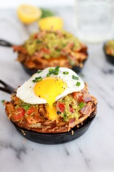Cheesy Cajun Fries with Grilled Corn Guacamole, Bacon and Fried Eggs