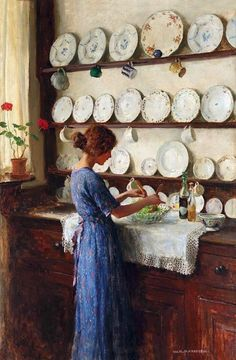 The Lady Of The House Artwork By William Henry Margetson Oil Painting & Art Prints On Canvas For Sale Paintings I Love, Beautiful Paintings, Ouvrages D'art, Fine Art, Oeuvre D'art, Female Art, Art History, Painting & Drawing, Amazing Art