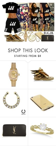 """Ill."" by dopegenhope ❤ liked on Polyvore featuring Rolex, adidas, Goldgenie, Yves Saint Laurent, Allurez, YES, westbrooks, indialove, indialovewestbrooks and illyil"