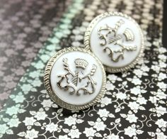 Crest Emblem Metal Buttons , Silver with White Enamel, Shank , 0.71 inch , 10 pcs by Lyanwood, $6.00