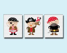 Nursery Boys Pirates Art Wall Print, Pirates Print, Baby Boy Nursery Wall Decor Print-Custom Colour- B242, B243 & B244 - Unframed