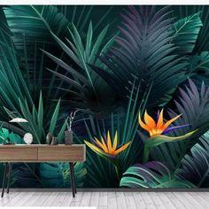 Tropical Rain Forest Dark Green Banana Leaves Tropical Plants | Etsy Tropical Leaves, Tropical Plants, Flower Wallpaper, Wall Wallpaper, Green Banana, Smooth Walls, Contemporary Interior Design, Plant Wall, Make Design