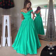 green prom dresses,green ball gowns, v neck prom dress,green formal dress,satin evening dresses,ball gowns prom dress,long prom dresses,long formal dress,off the shoulder dress,long party dress,vestidos de festa