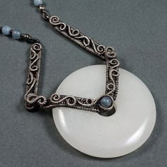 """The Angels' Song - Sterling Silver, Angelite and """"White Jade"""" Necklace"""