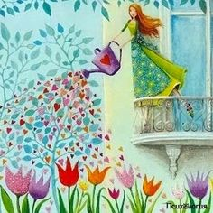 Whimsical lady watering the tulips with hearts, cute painting. Post card designed by Mila Marquis by MarquisWonderland on Etsy Art And Illustration, Decoupage, Art Fantaisiste, Art Mignon, Postcard Design, Naive Art, Whimsical Art, Cute Art, Illustrators