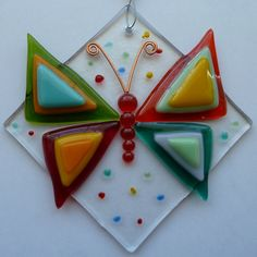 Butterfly Fused Glass Suncatcher by LaDeansDesigns on Etsy