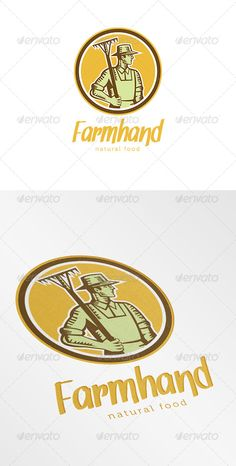 Farmhand Natural Logo ...  Farm Worker, agriculture, artwork, circle, farmer, farmhand, graphics, illustration, implement, logo, natural, organic, rake, retro, round, woodcut, worker