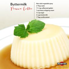 Spray 6 ramekins w/ vegetable oil & place on cookie sheet. Combine gelatin & water in small bowl. Let stand 6 min. until softened. In saucepan, heat cream & sugar over med. Heat. Stir till sugar dissolves. Add gelatin mixture & remove from heat. Mix well. Pour mixture in bowl to cool. Stir in buttermilk & vanilla. Divide evenly in ramekins. Refrigerate 4 hrs, until set. Dip ramekin base in hot water for 10 sec. to loosen. Flip onto small plate. Garnish w/ Spiced Pears & MARTINI Prosecco…