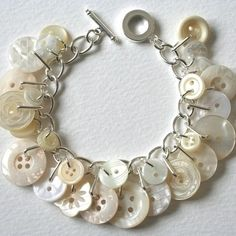 charm button bracelet - I'm making this now with vintage buttons from my great grandma's collection! Beaded Jewelry, Jewelry Bracelets, Jewelery, Handmade Jewelry, Bracelets Crafts, Button Jewellery, Gold Jewelry, Diamond Bracelets, Gothic Jewelry