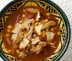 Chicken Tortilla Soup-our family adds a can of black beans & some chopped jalapenos to this. yum!