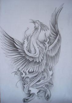 Fenix by Tirana-Weaving on DeviantArt Phoenix Tattoo Feminine, Phoenix Bird Tattoos, Phoenix Tattoo Design, Cool Finger Tattoos, Body Art Tattoos, Sleeve Tattoos, Fire Tattoo, Raven Tattoo, Tattoo Ave Fenix