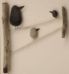Pebble art photo oiseaux