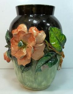Victorian Majolica Vase c1880 : Marked FMCo, Faience Manufacturing Company Greenpoint N.Y.