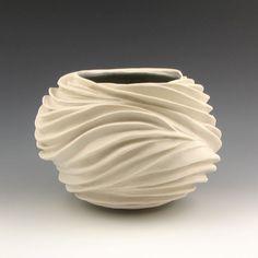 Carved Sculptural Ceramic Pottery Vessel: Creamy Porcelain