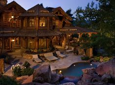 This rustic lodge style home was designed by RMT Architects and built by Beck Building Company, located in Beaver Creek, Colorado. Log Homes For Sale, Log Cabin Homes, Log Cabins, Lake Homes, Rustic Inn, Rustic Homes, Rustic Feel, Rustic Style, Mansion Homes