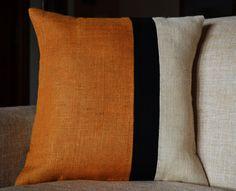 Decorative throw pillow Burlap Pillow color block by AmoreBeaute