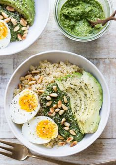 You can make a Savory Pesto Quinoa Breakfast Bowl with this easy + healthy recipe.