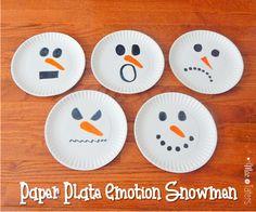 Paper Plate Emotion Snowmen