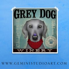 Weimaraner Winery  original graphic illustration by geministudio, $29.00