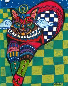 Cat angel  Tabby CAT Folk ART PRINT Poster by HeatherGallerArt, $24.00