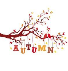 autumn tree branch with birds vector
