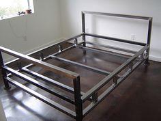 Welded Furniture, Iron Furniture, Steel Furniture, Furniture Design, Bed Frame Design, Diy Bed Frame, Sofa Cumbed Design, Diy Bedframe With Storage, Steel Bed Design
