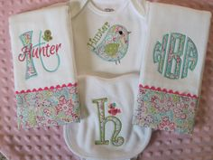 Girl Baby Shower Gift Set - personalized set includes 2 burp cloths, 1 bib and a onesie