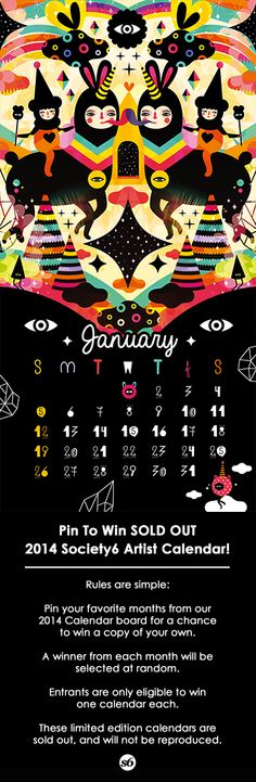 Art by Muxxi. Pin for a chance to win a Sold Out 2014 Society6 Artist Calendar.