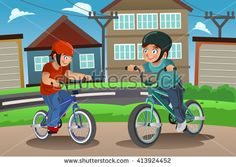 Buy Kids Riding Bike by artisticco on GraphicRiver. A vector illustration of happy kids riding bike together. Vector illustration, zip archive contain eps 10 and high re. Bike Illustration, Cartoon Boy, Digital Portrait, Vector Design, Graphic Design, Happy Kids, Vector Free, Childhood, Bicycle