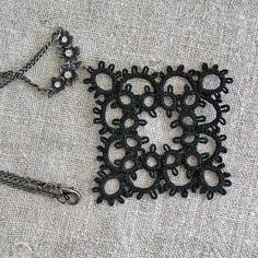 Tatted Lace black pendant Tatting shuttle Frivolite by MyWealth, $13.70