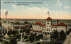 Old post card of downtown Jacksonville, Florida - Hemming Plaza