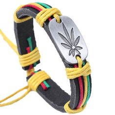 Weed Punk Design Woven Leather Unisex Bracelets
