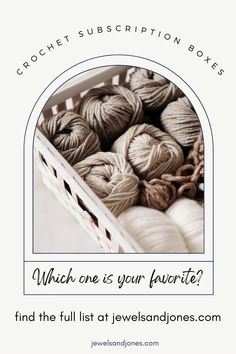 Crochet subscription boxes are yarn deliveries that come monthly or quarterly. There's a wide variety of different yarn boxes you can choose from, these yarn box options include yarn kits, crochet along's (CAL's), premium hand-dyed yarns, or yarn goodies. #crochet #yarncrafts